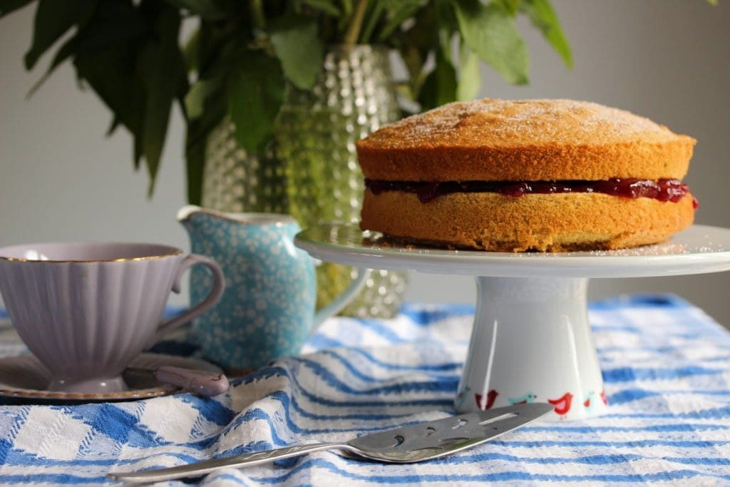 Glutenfree, dairyfree Victoria sponge cake recipe. Made with wholegrain gluten-free flour from the Free From Fairy