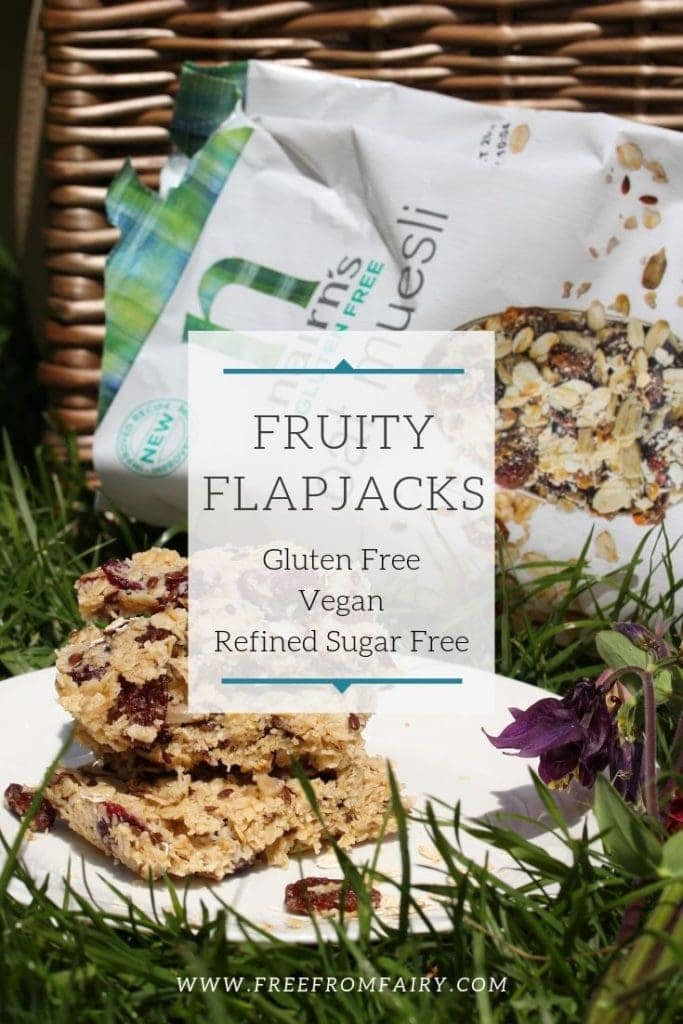 3 ingredient fruity flapjacks. A very simple recipe that is made in the microwave in just 3 minutes. #quickflapjack #glutenfreeflapjack #fruityflapjack #3ingredientflapjack
