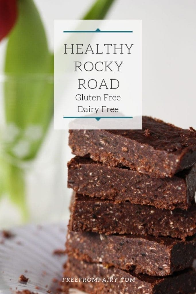 This healthy rocky road recipe is free from gluten, dairy, eggs, nuts and refined sugar and can be made vegan.