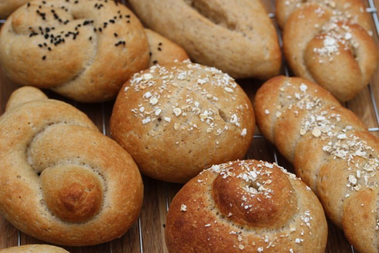 Artisan bread rolls made using the Free From Fairy wholegrain gluten free self raising flour blend