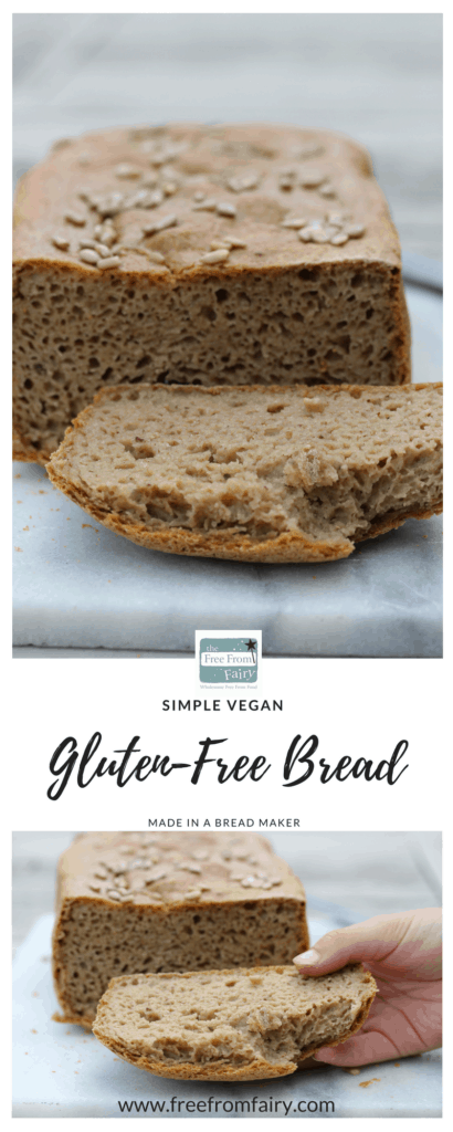 Make your own simple wholegrain gluten-free and vegan bread with this easy to follow recipe made in a bread maker using the Free From Fairy's wholegrain flour blend...