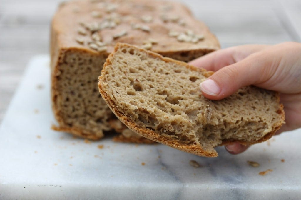 Perfect wholegrain gluten free vegan bread made in the bread maker with wholegrain flour from the Free From Fairy. #glutenfreeflour #fairyflour #glutenfreebread #glutenfreebreadrecipe