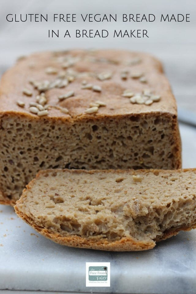 Gluten free vegan bread that can be made in a bread maker or in the oven. This recipe is very simple to follow and results in a delicious flavoursome loaf that everyone will enjoy. It's made with the Free From Fairy's unique wholegrain gluten free flour blend. #glutenfreebread #veganglutenfreebread #veganbread #glutenfreebreadinbreadmaker #fairyflour #freefromfairy