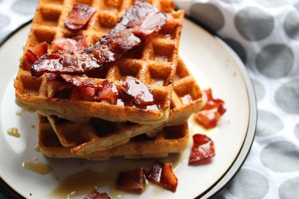 Gluten-free Belgian waffles. A thing of luxury and easy to make with the Free From Fairy's wholegrain gluten-free self raising flour blend. Top with crispy bacon and maple syrup for the ultimate breakfast.