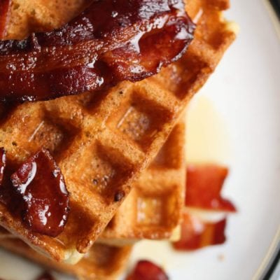 Luxury Breakfast: Gluten Free Belgian Waffles With Crispy Bacon & Maple Syrup