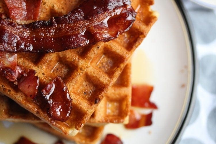 Make delicious gluten-free Belgian waffles with bacon and maple syrup using the Free From Fairy's wholegrain gluten-free flour blends.