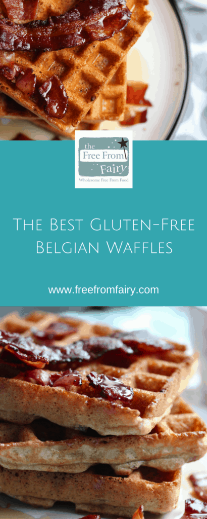 Make the most amazing gluten-free Belgian waffles with this simple recipe. It uses the Free From Fairy's wholegrain gluten-free wholegrain flour blend. Top with crispy bacon and maple syrup for the ultimate breakfast treat.