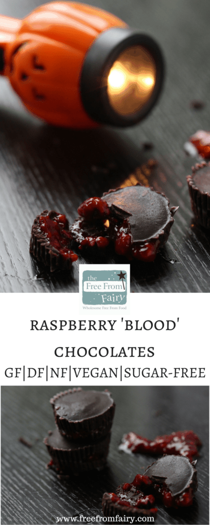 Make your own halloween chocolate with homemade dark chocolate filled with raspberry sauce. A simple recipe from the Free From Fairy that's gluten-free, dairy-free, egg-free, nut-free, soya-free and refined sugar-free. Suitable for vegans too.