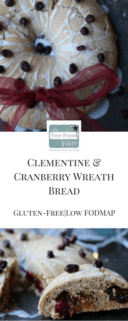 #Glutenfree (can be #dairyfree too) clementine and cranberry wreath bread. This #lowFODMAP recipe is delicious for everyone at #Christmas.