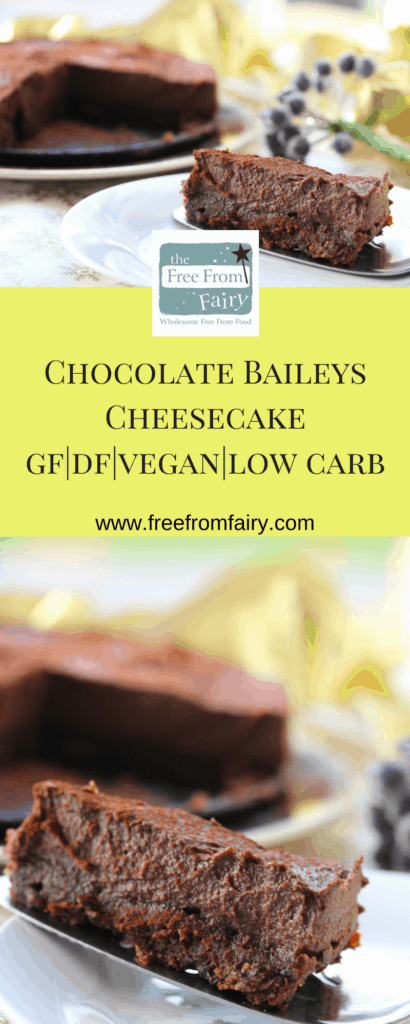 Incredible, silky chocolate Baileys cheesecake. This recipe is glutenfree, vegan and low carb meaning that everyone can enjoy it this Christmas. Not only that, it is super easy to make and utterly divine.