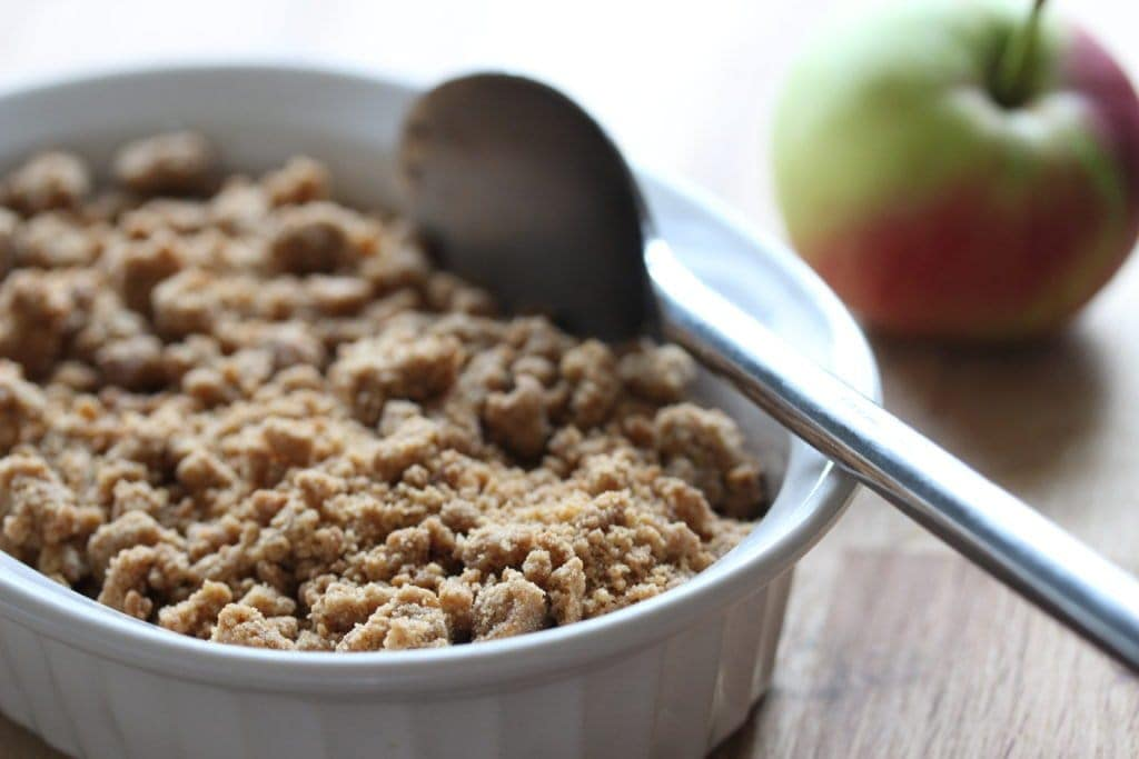 Delicious apple and mincemeat crumble. Perfect for the glutenfree and dairyfree guest and so easy to make.