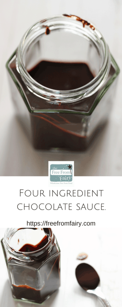 Four ingredients and five minutes is all you need to make this luxurious chocolate sauce that refined sugar free, gluten free, egg free, nut free, soya free and can be dairy free