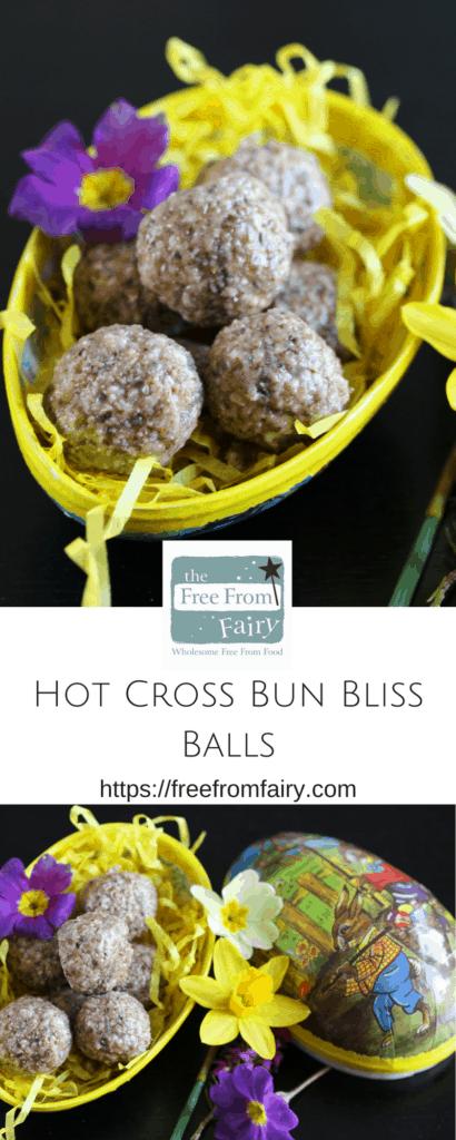 Hot Cross Bun Bliss Ball Recipe. #glutenfree #dairyfree #vegan #Easter #blissball https://freefromfairy.com