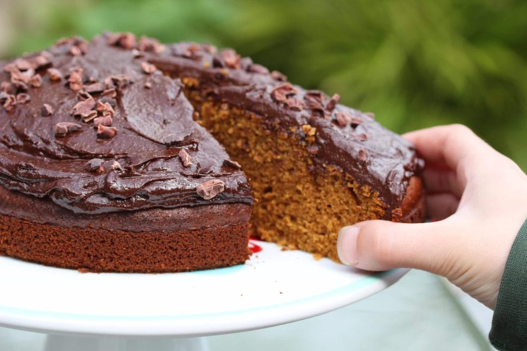 Gluten Free Coffee Cake with a chocolate icing. Dairy free. No margarine. Refined sugar free. #glutenfree #dairyfree #refinedsugarfree #coffeecake #glutenfreecake #freefromfairy
