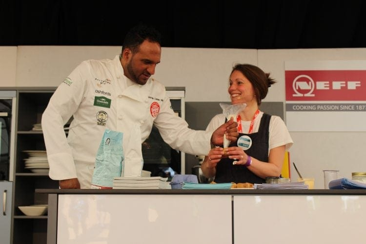Vicki Montague aka the Free From Fairy on stage with Michael Caines