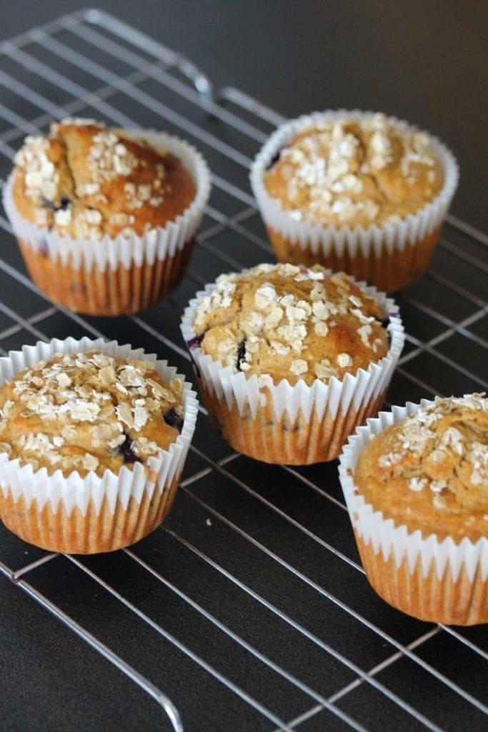 Healthy muffins; gluten free blueberry muffins. Easy recipe that creates moist gluten free muffins. #freefromfairy #glutenfreemuffins #moistglutenfreemuffins #glutenfreeblueberrymuffins #healthymuffins #healthyblueberrymuffin #healthyblueberryoatmuffin