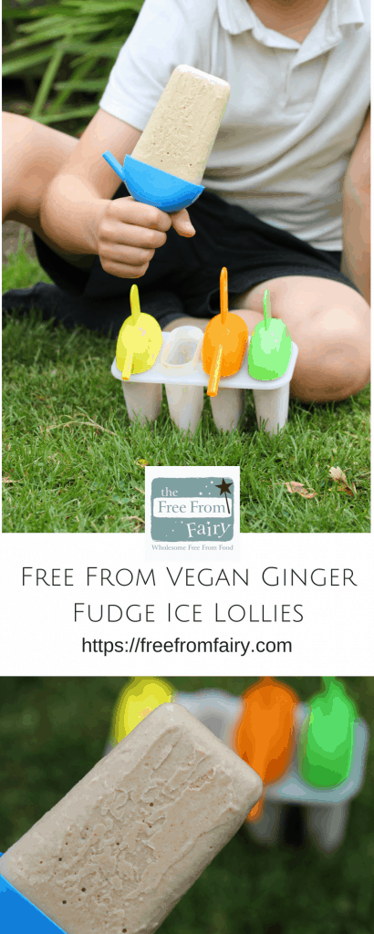 Vegan Ginger Fudge Ice lollies. These ice lollies are fudgy and creamy and made with just 4 ingredients. They are #glutenfree #dairyfree #eggfree #nutfree #soyafree #refinedsugarfree and #paleo