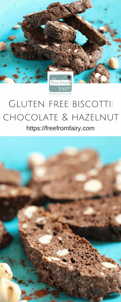 Gluten free biscotti recipe. This chocolate and hazelnut biscotti is made with the Free From Fairy's wholegrain gluten free flour blend and is so simple to make. #glutenfree #dairyfree #biscotti #freefromfairy #glutenfreeflour