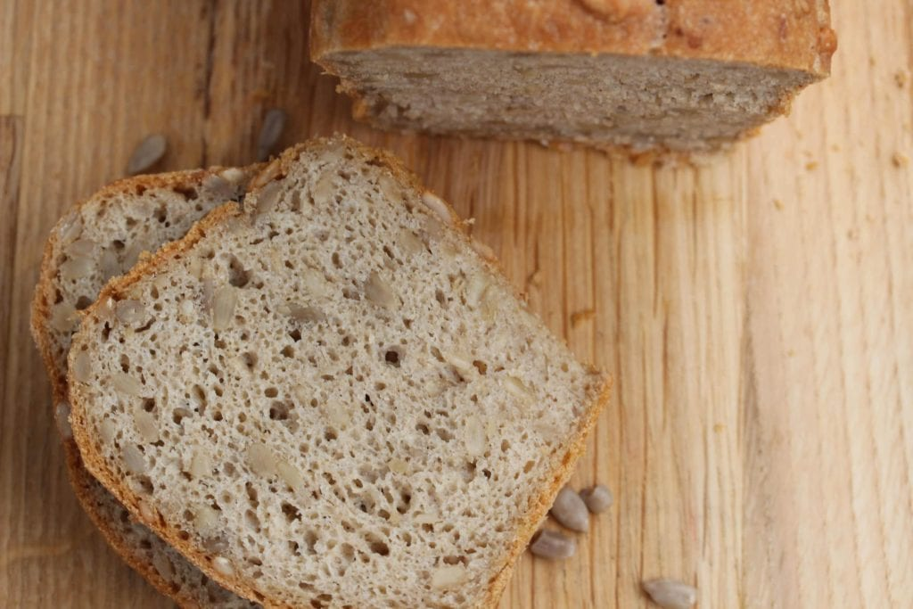 Healthy gluten free bread made with the Free From Fairy's wholegrain gluten free flour blend. #glutenfree #glutenfreeflour #glutenfreebread #glutenfreebreadrecipe #easyglutenfreebreadrecipe