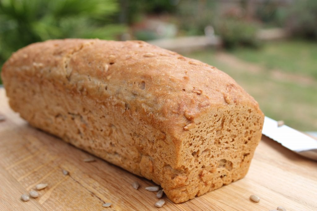 Healthy gluten free bread made with the Free From Fairy's wholegrain gluten free flour blend. #glutenfree #healthy gluten free bread #healthybread #glutenfreebread