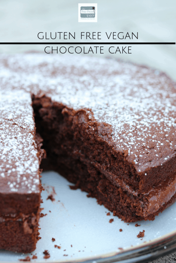 Gluten free vegan chocolate cake made with natural ingredients...no margarine or refined sugar #glutenfree #wholegrain #dairyfree #eggfree #vegan #veganchocolatecake #chocolatecake #glutenfreechocolatecake #freefromfairy