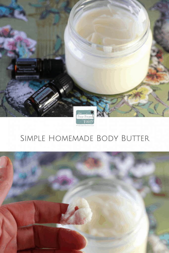 Simple homemade body butter recipe. Made with 3 ingredients. #bodybutter #skincare #organic #freefromfairy