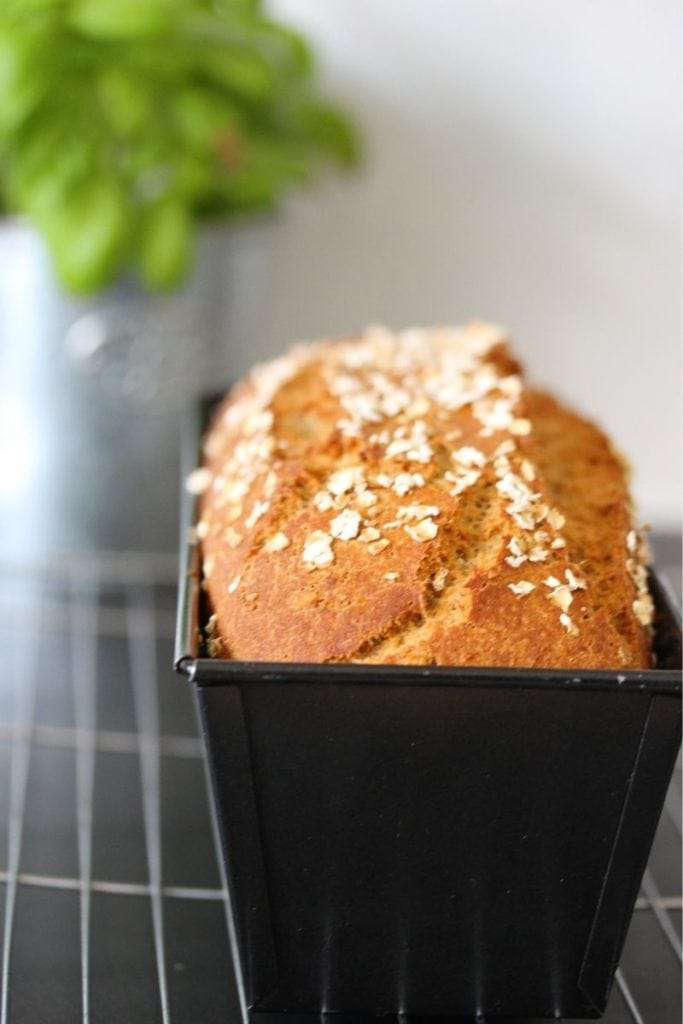 Gluten free sourdough bread in tin