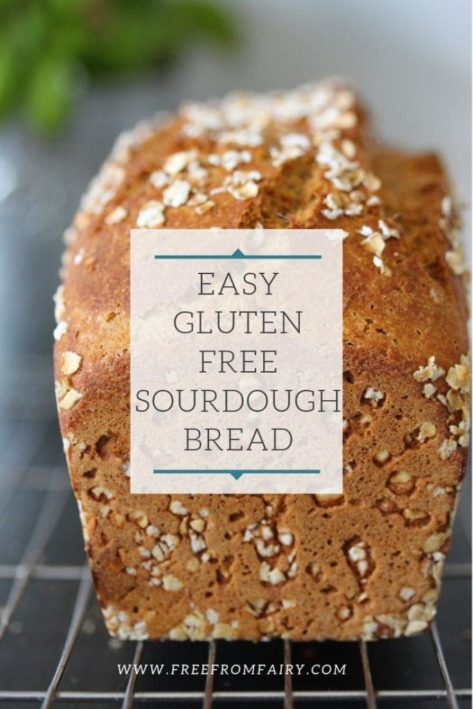 An easy gluten free sourdough bread recipe. This uses milk kefir instead of a sourdough starter for the rise and flavour. Never buy bread again once you've tried this crusty loaf. #glutenfreebread #glutenfreesourdoughbread #freefrombread #fairyflour #freefromfairy #sourdoughbreadrecipe #easysourdough