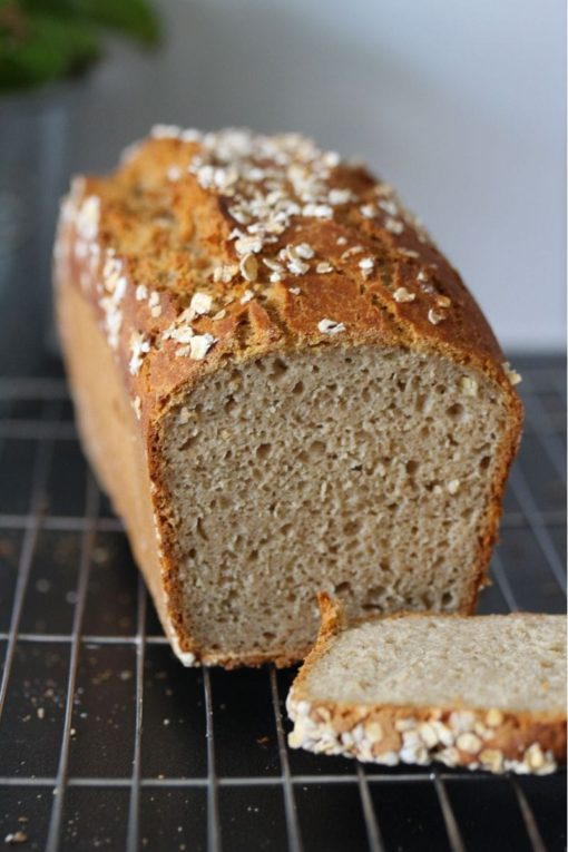 Slice of gluten free kefir bread