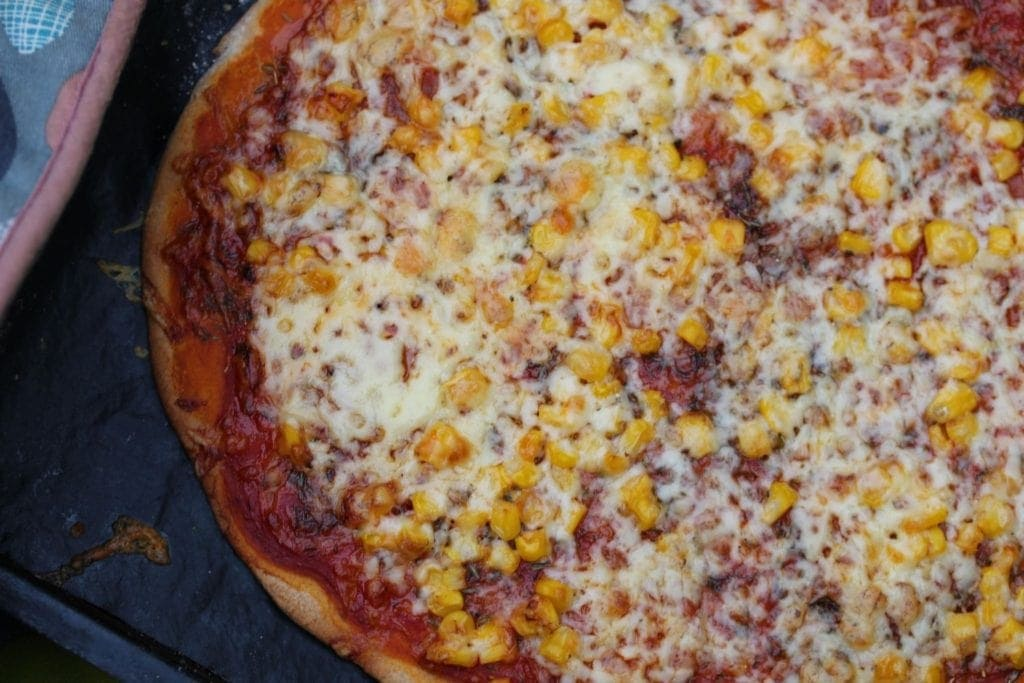 Pizza made with the Free From Fairy wholegrain gluten free flour.