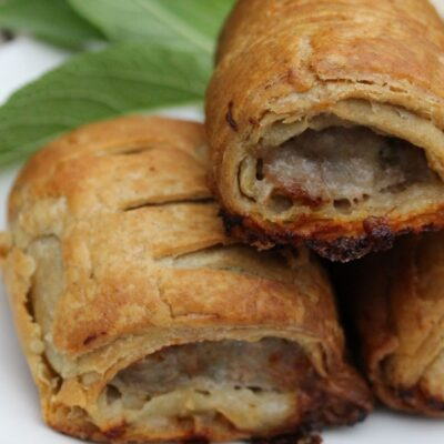 Gluten free sausage rolls made using the Free From Fairy's gluten free puff pastry recipe