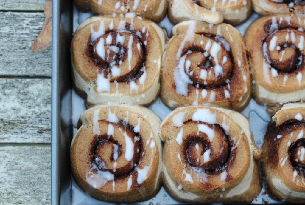 Simple gluten free cinnamon rolls made with the Free From Fairy's wholegrain gluten free flour blend. #glutenfree #dairyfree #eggfree #vegan #vegancinnamonrolls #glutenfreecinnamonrolls