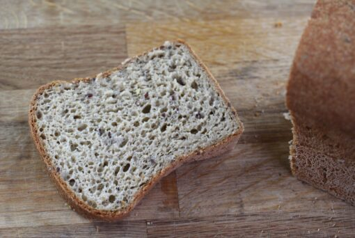 Slice of bread made with the Free From Fairy gluten free bread mix
