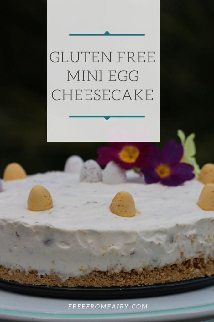 A simple no bake mini egg cheesecake that is gluten free too. #Easterrecipe #Easter #glutenfreeeaster #nobakecheesecake #glutenfreeminieggcheesecake #freefromfairy #Easterdessert