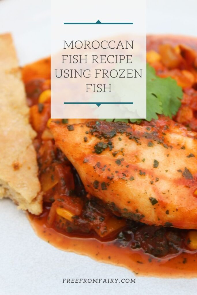 A tasty, vibrant Moroccan fish recipe that uses frozen or fresh fish to create an easy one pot family meal.