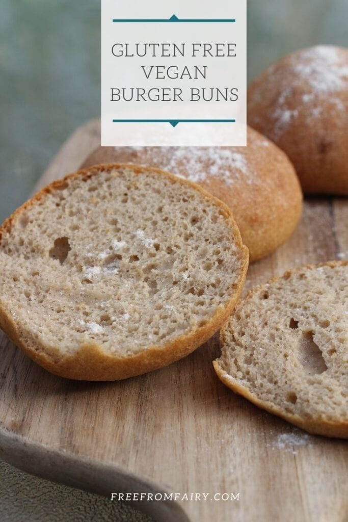 Learn how to make gluten free burger buns that are suitable for those on a vegan diet too. These buns or sandwich rolls are soft, pliable and don't fall apart. #freefromfairy #glutenfreesandwichrolls #glutenfreeburgerbuns #glutenfreebread
