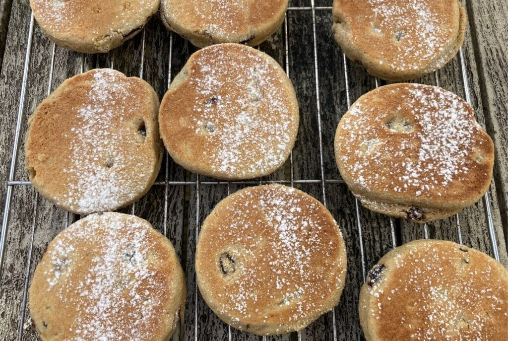 Gluten free welsh cakes on a cooking rack taken from above