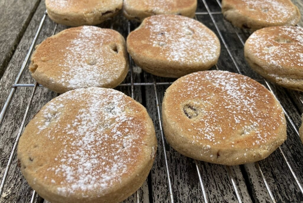 Welsh cakes once cooked need to be cooled on a wire rack