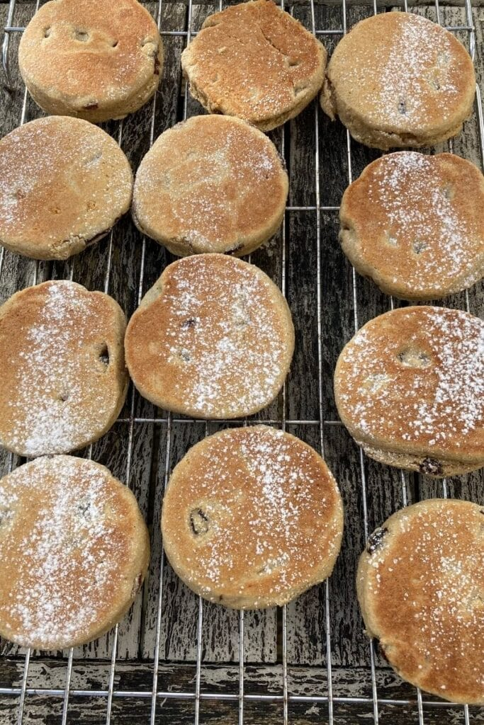 Gluten free Welsh cakes on a cooling rack