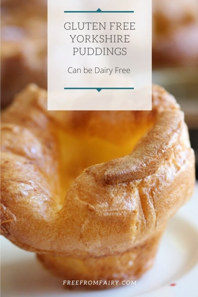 The best gluten free Yorkshire puddings recipe that you'll find. In fact whether you're gluten free or not this Yorkshire pudding recipe is a keeper! Can be made dairy free too. #glutenfreeyorkshirepuddings #glutenfreeroast #glutenfreeyorkies #freefromfairy