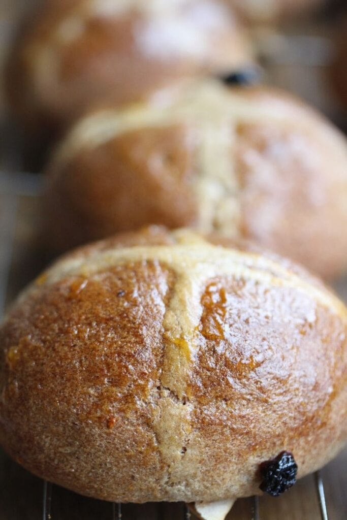 Close up gluten free hot cross bun recipe - portrait shot