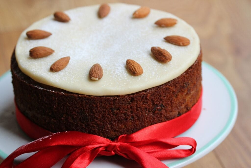 Gluten free simnel cake on a cake stand