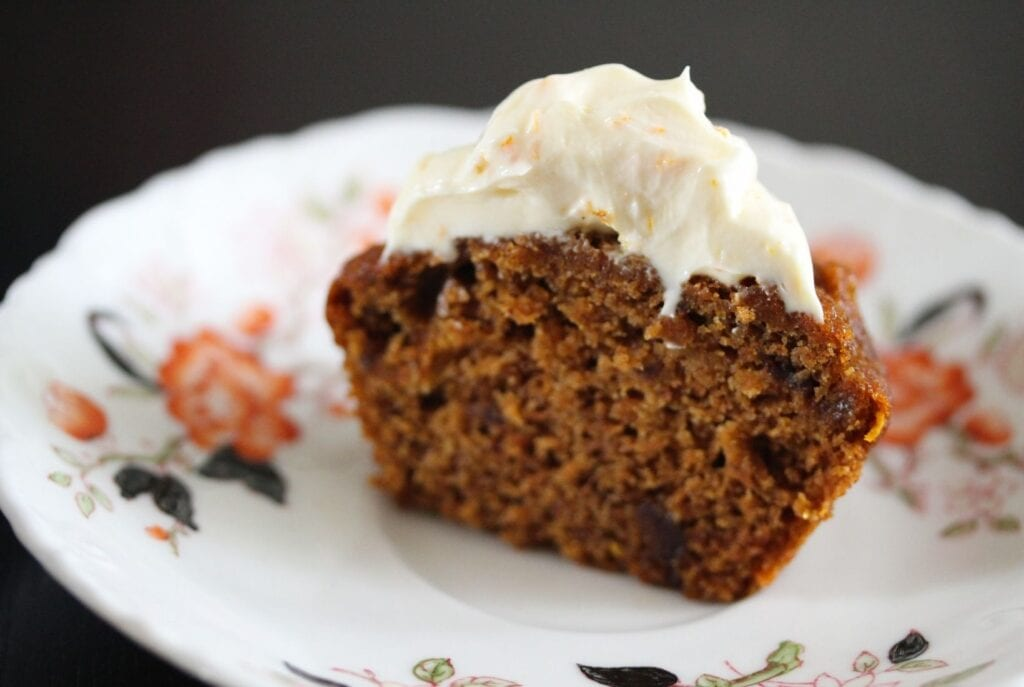 Cut in half sugar free gluten free carrot cake muffin