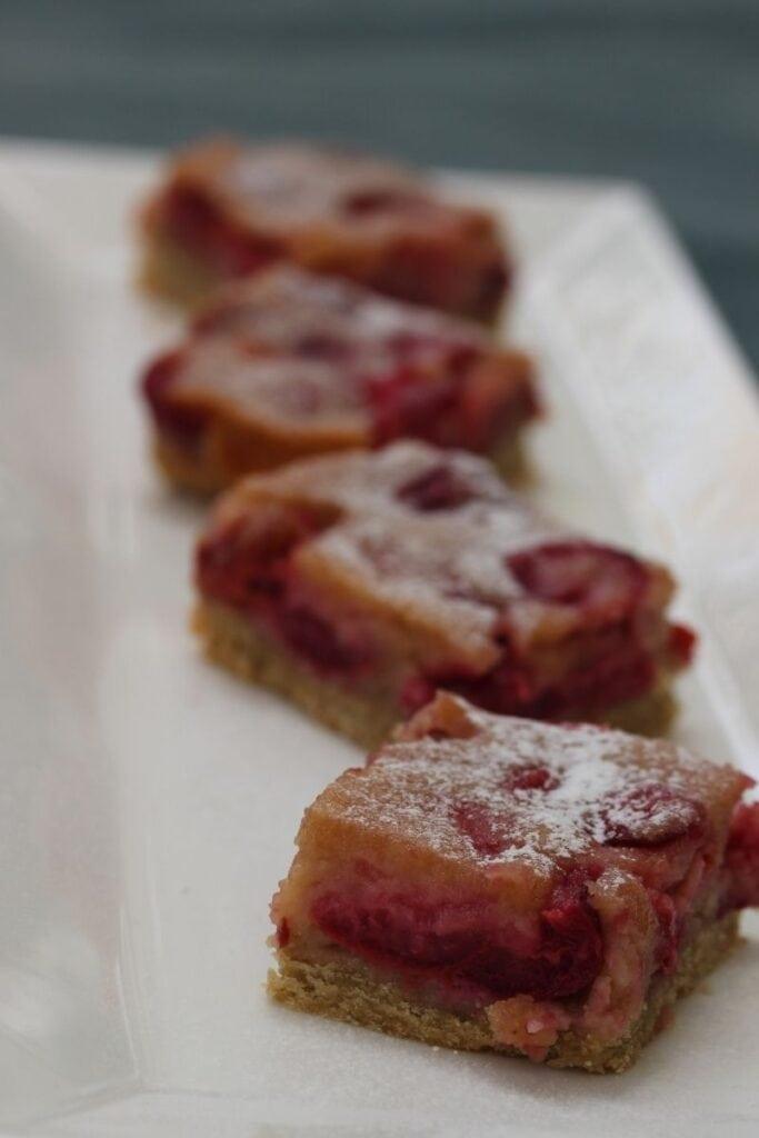 Gluten free cherry pie on a white plate